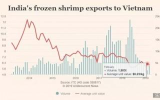 印度白虾对越南出口量跌到5年来最低点