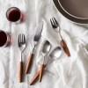 银貂进口柚木手柄304不锈钢刀叉勺原木柄拉丝西餐餐具五件套